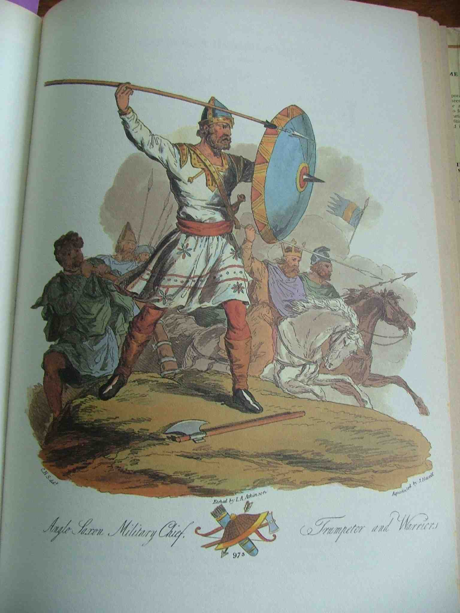 Anglo Saxon military chief. From Ancient Costumes of great Britain and Ireland by Charles Hamilton Smith