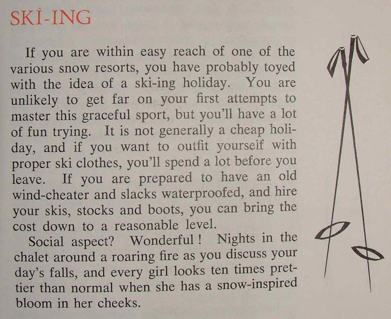 Skiing tips Woman's World photo source: theartofcostume.wordpress.com