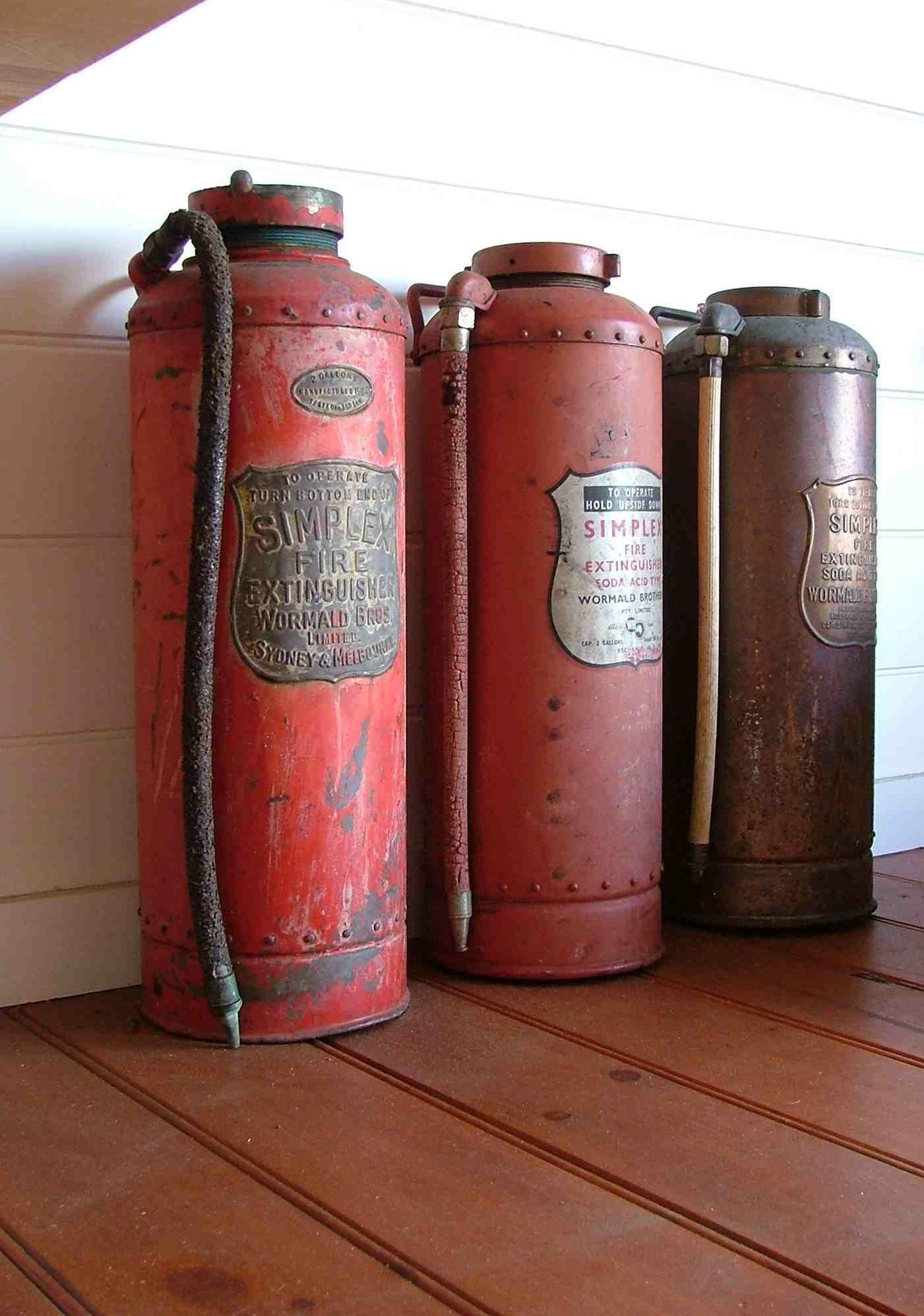 vintage fire extinguishers from Warnambool maritime museum.
